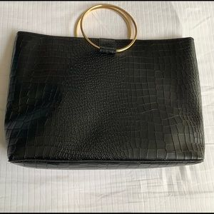 Handbags - NEW!! Black Faux Croc Double Handle Bag